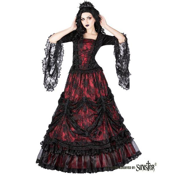 Rok Aleister, zwart rood gedrapeerd kant gedecoreerd met satijnen rozen