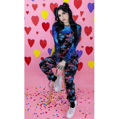 Foto van Run & Fly   Zwarte tuinbroek met batik Galaxy print, unisex
