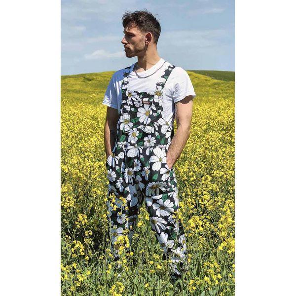 Run & Fly   Zwarte tuinbroek met grote madelief print, unisex