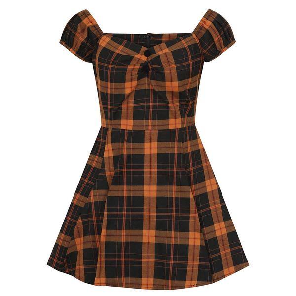 Collectif mini jurk Dolores Pumpkin, oranje zwarte tartan