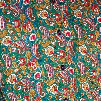 Foto van Chenaski   overhemd seventies, Paisley en bloemen groen