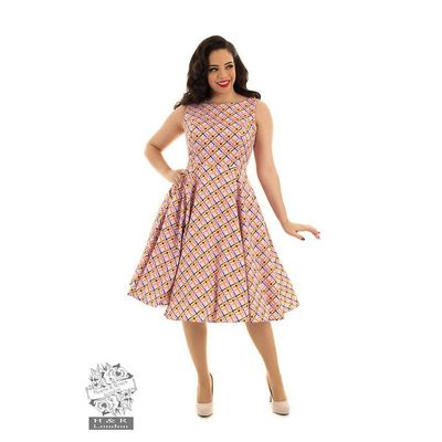 Foto van Hearts & Roses - Swingjurk Audrina, met jaren 50 patroon, roze