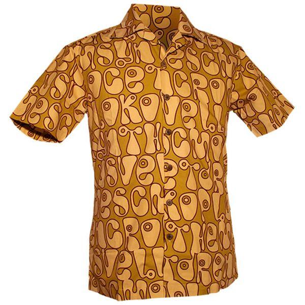 Chenaski | Overhemd korte mouw, Moloko, groen, creme, bruin