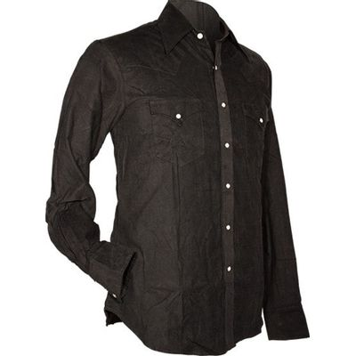 Foto van Chenaski, cowboy overhemd van fijne ribcord, zwart