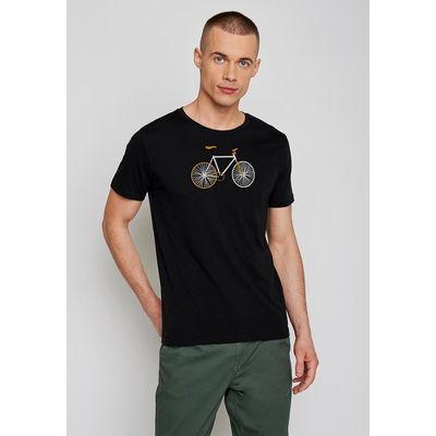 Foto van Green Bomb | T-shirt zwart Bike Easy, bio katoen