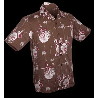 Foto van Chenaski | Overhemd korte mouw, Japanese Leaves, bruin