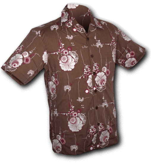 Chenaski | Overhemd korte mouw, Japanese Leaves, bruin