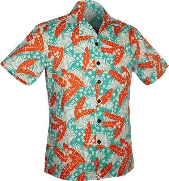 Chenaski   Overhemd korte mouw, Aloha, creme turquoise orange
