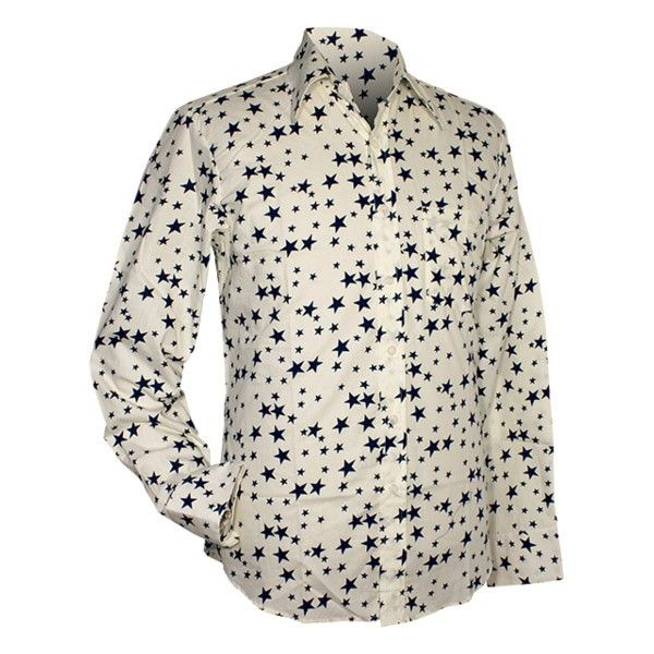 Chenaski | overhemd seventies, Stars creme en navy
