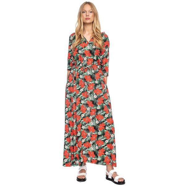 Ato Berlin, lange jurk Gwen met tropische bloem print