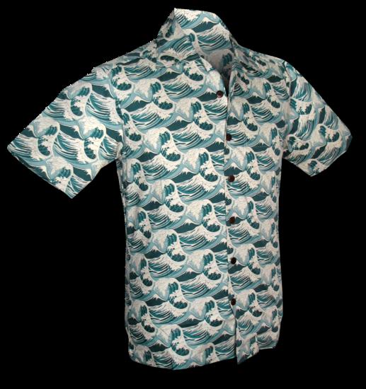 Chenaski | Overhemd korte mouw Japanese Waves mint