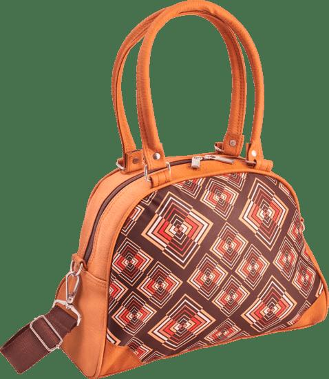 Handtas bowlingbag model, Rhombus brown