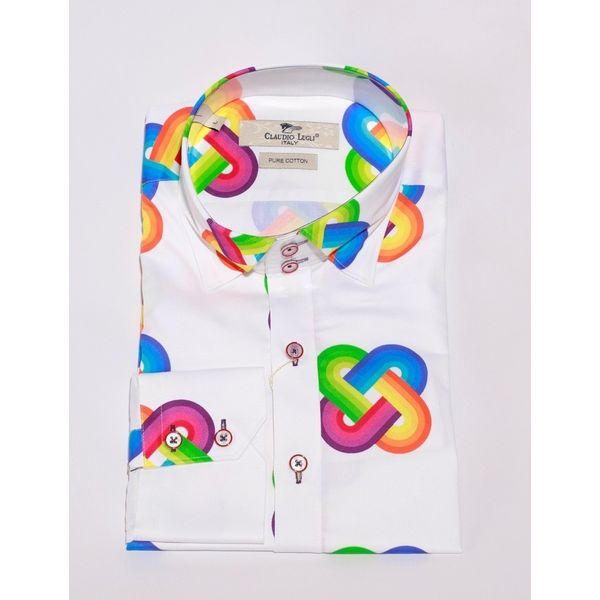 Overhemd retro regenboog print
