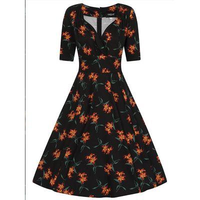 Foto van Collectif | Zwarte jurk Trixie Midnight met oranje lelies