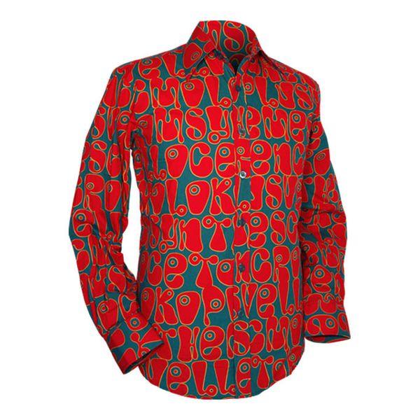 Chenaski | Petrol rood seventies overhemd Moloko