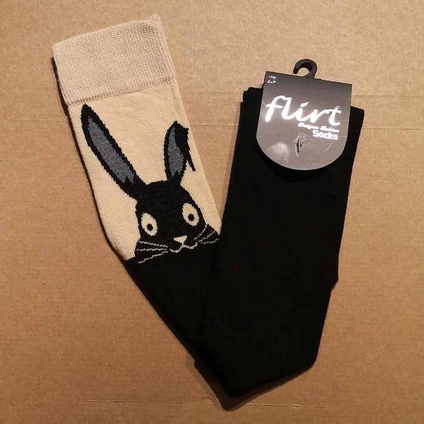 Flirt | Zwarte overknee sokken met skin-top en Rabbit