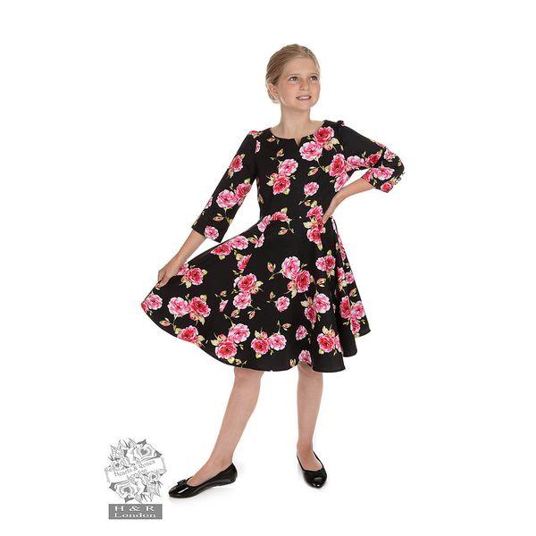 Hearts and Roses   Kinderjurk Ava Floral zwart met rozen