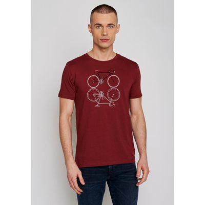 Foto van Green Bomb | T-shirt Bike Shape, bordeaux rood bio katoen
