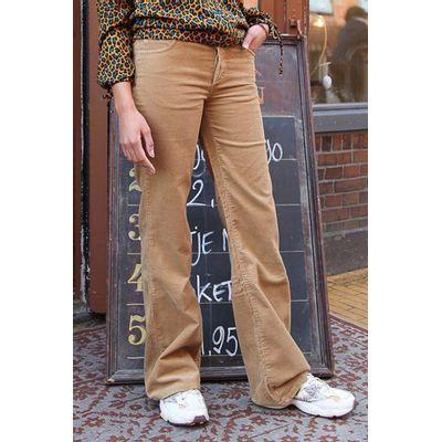 Foto van ATO Berlin | Ribcord broek Newton, met uitlopende pijp, beige