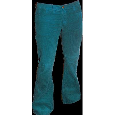 Foto van Ribcord retro broek petrol, wijde pijp normale lengte