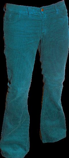 Ribcord retro broek petrol, wijde pijp normale lengte