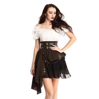 Foto van Pentagramme | Steampunk rok met kant, corset details en radertjes