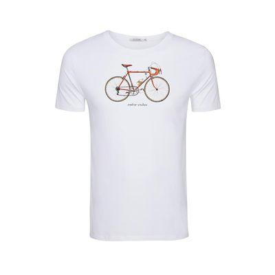 Foto van Green Bomb | T-shirt Bike 51, wit bio katoen