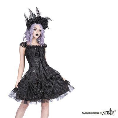 Foto van Sinister - Jurk Acantha kort, met satijn, tule en kant, zwart