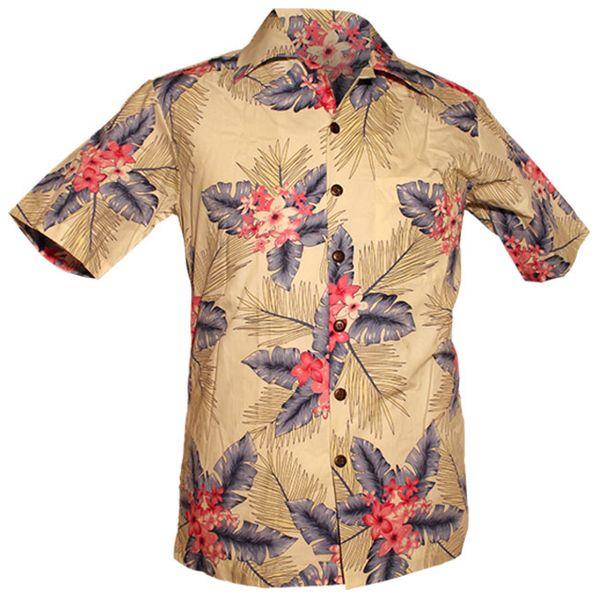 Chenaski   Overhemd korte mouw, Fern creme blauw roze