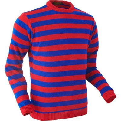 Chenaski | Retro trui, rood blauw gestreept