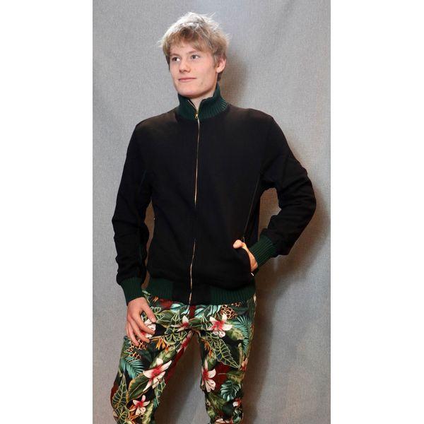 ATO Berlin   Sportjas Boy, zwart met donkergroene biezen