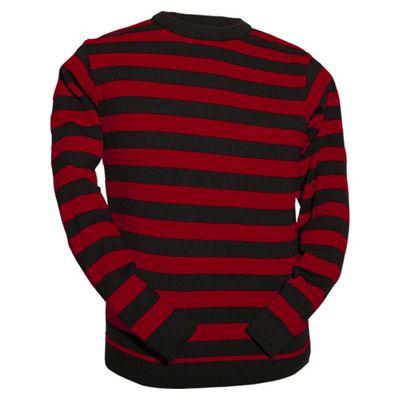 Foto van Chenaski | Retro trui, rood zwart gestreept