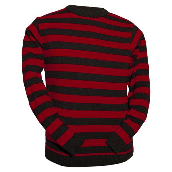 Chenaski | Retro trui, rood zwart gestreept