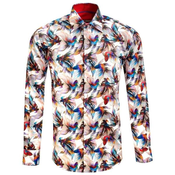 Claudio Lugli, overhemd met Rainbow koi betta fish print