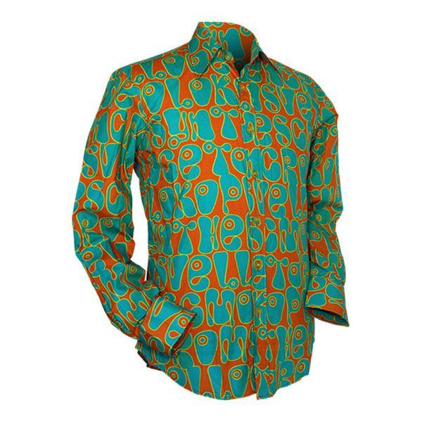 Chenaski | Oranje blauw seventies overhemd Moloko