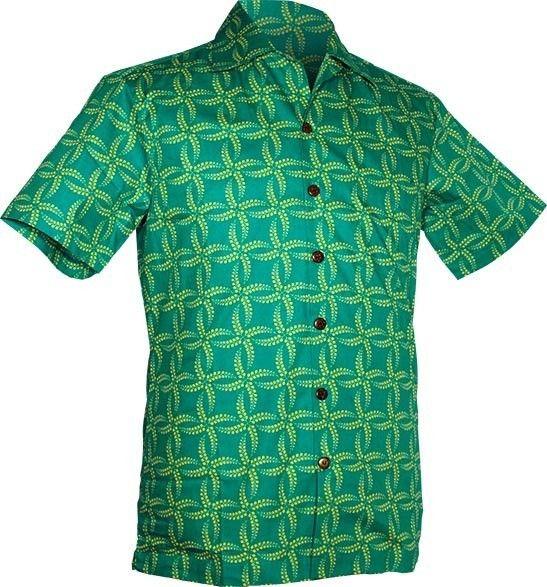 Chenaski | Overhemd korte mouw, Leaves grid, turquoise yellow