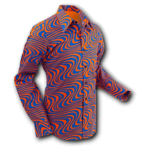 Chenaski | overhemd Seventies Wavyline Orange Blue