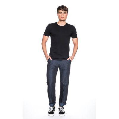 Foto van Pantalon Jorjo, donkerblauw met lichtblauw krijtstreepje