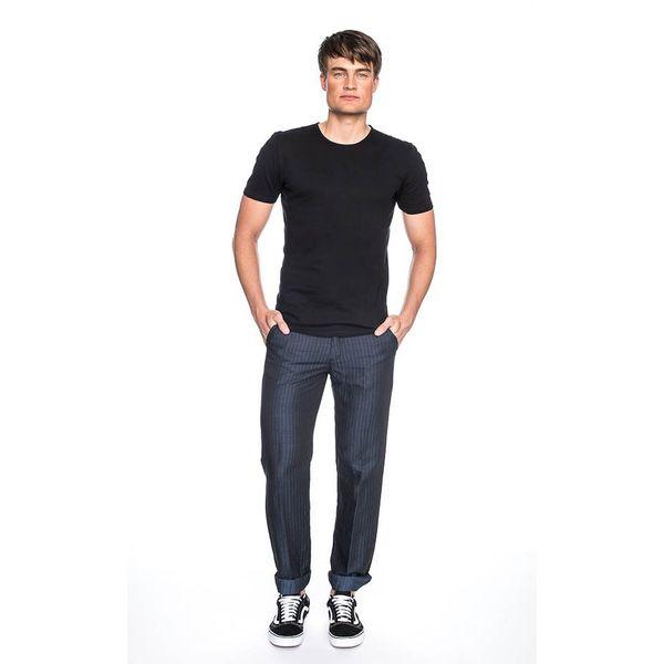 Pantalon Jorjo, donkerblauw met lichtblauw krijtstreepje