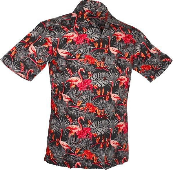 Chenaski   Overhemd korte mouw, Flamingos in the Jungle, grijs