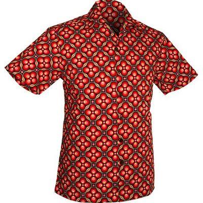 Foto van Chenaski | Overhemd korte mouw, Dotsgrid, black red