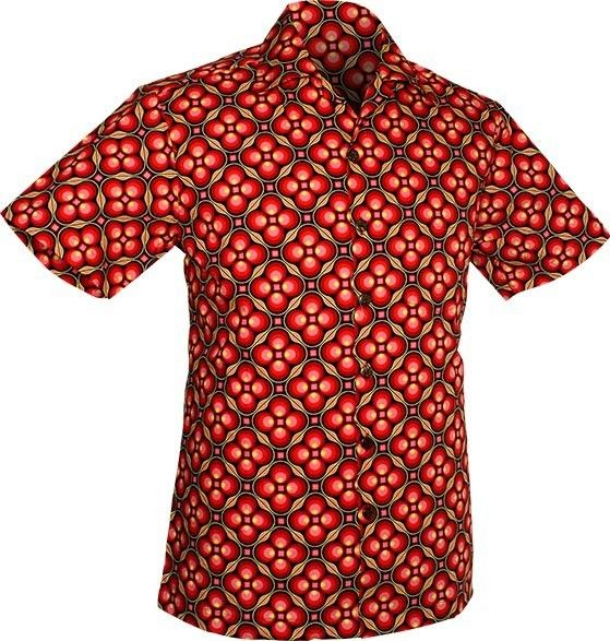 Chenaski   Overhemd korte mouw, Dotsgrid, black red