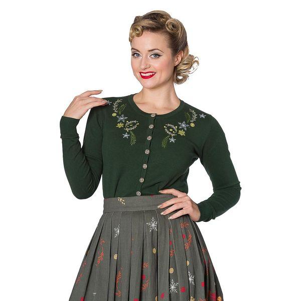 Banned, cardigan Winter Leaves, met embroidery, groen