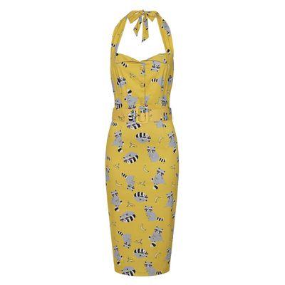 Foto van Collectif   Pencil jurk Wanda Ravenous geel met wasberen