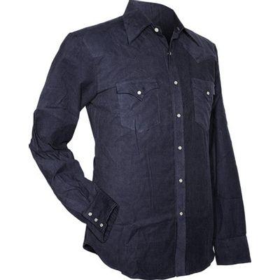 Chenaski, cowboy overhemd van fijne ribcord, navy