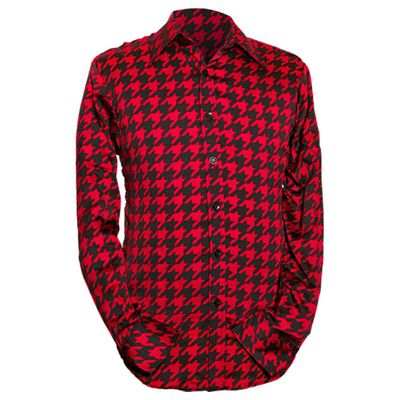 Chenaski | Rood zwart seventies overhemd Shinori satijnstof
