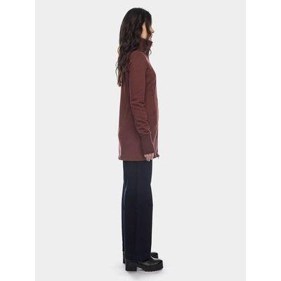 Foto van ATO Berlin | Lang chocolade bruin vest Elli met hoge kraag