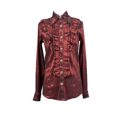 Foto van Pentagramme | Bordeaux stretch satin aristocratisch overhemd met flock print