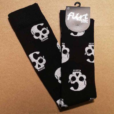 Foto van Flirt   Overknee sokken zwart met Ladyskull