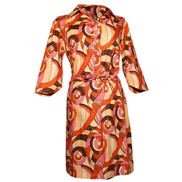 Chenaski   70's jurk, feelgood circles creme ovaltine orange